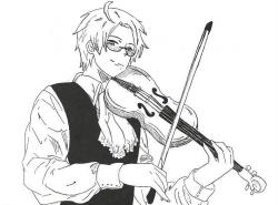 Drawn violinist violin playing