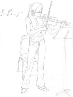 Drawn violin violinist