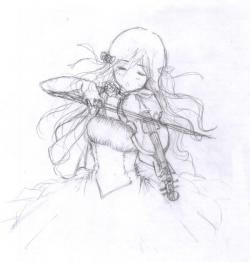 Drawn violin anime