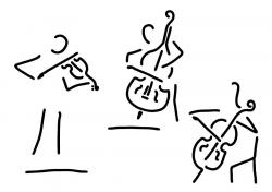 Drawn violinist cello