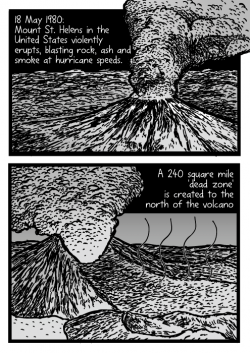 Drawn volcano comic
