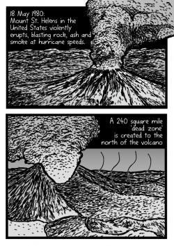 Drawn volcano comic