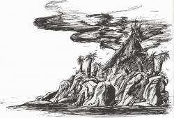 Drawn volcano volcano island