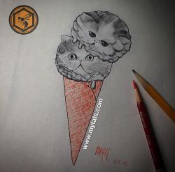 Drawn waffle cone sketch
