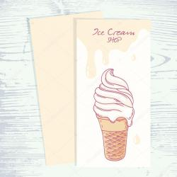 Drawn waffle cone sundae