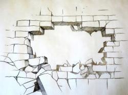 Drawn photos broken brick