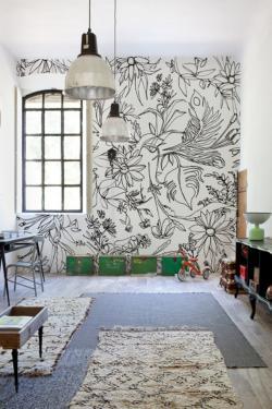 Drawn wall wall mural