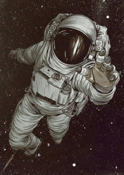 Drawn wallpaper astronaut