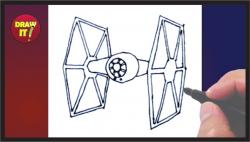 Drawn falcon tie fighter