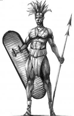 Drawn warrior african warrior