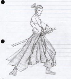 Drawn samurai anime samurai