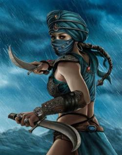 Drawn warrior arab female