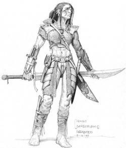 Drawn samurai barbarian
