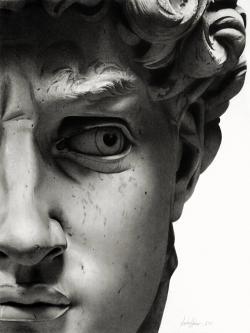 Drawn warrior david sculpture