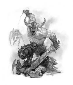 Drawn warrior demon