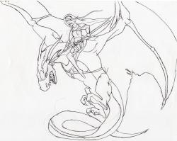 Drawn warrior dragon rider