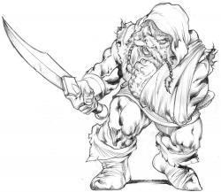 Drawn dwarf headed