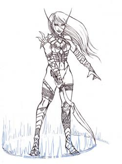 Drawn warrior elf woman