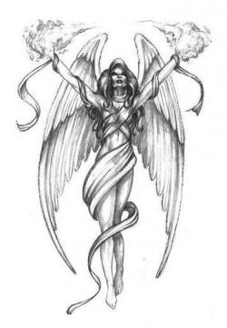 Drawn warrior female angel death