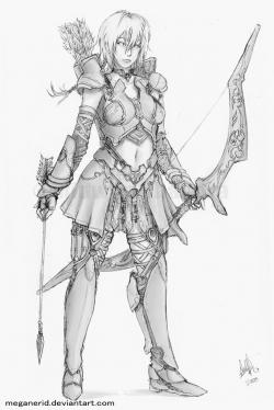 Drawn warrior female archer