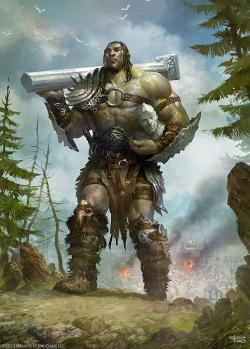 Drawn warrior giant