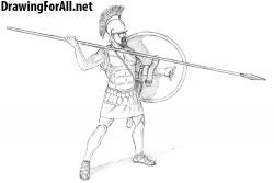 Drawn warrior greek warrior