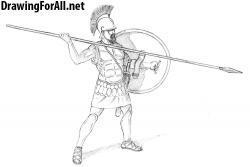 Drawn warrior greek warrior