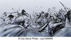 Drawn war fight scene