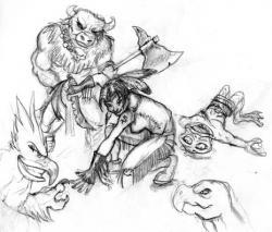 Drawn warrior indian