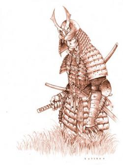 Drawn warrior japanese samurai