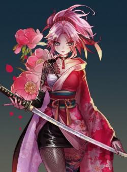 Drawn warrior kimono