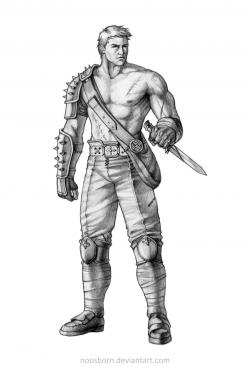 Drawn warrior male warrior