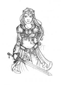 Drawn warrior medieval warrior princess