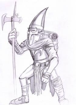 Drawn warrior realistic