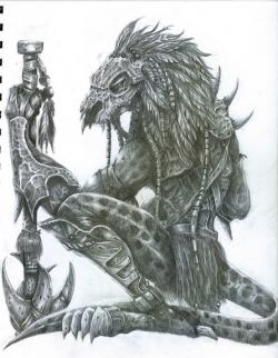 Drawn warrior reptile