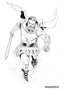 Drawn warrior roman warrior