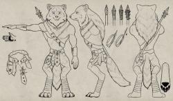 Drawn werewolf character model