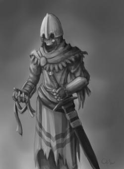 Drawn sleleton skeleton knight