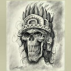 Drawn warrior skull