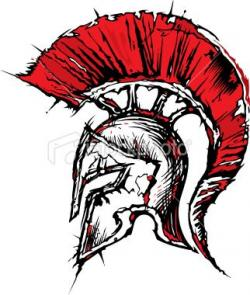 Drawn warrior spartan helmet