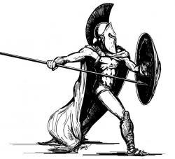 Drawn warrior spartan soldier