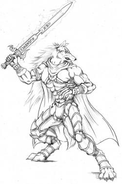 Drawn werewolf warrior