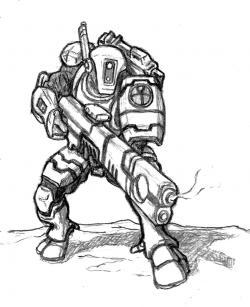 Drawn warrior warhammer