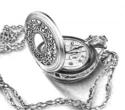 Drawn pocket watch pencil drawing