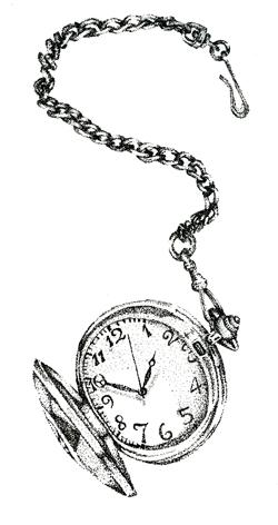 Drawn pocket watch line drawing