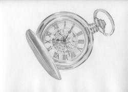 Drawn pocket watch sketch