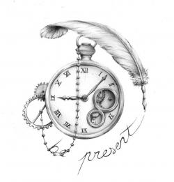 Drawn pocket watch old time