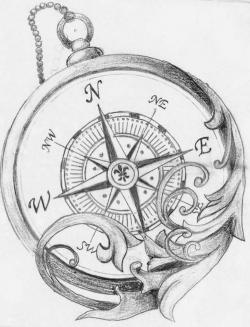Drawn pocket watch compass rose