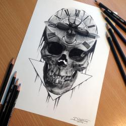 Drawn watch skull