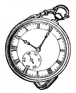 Drawn pocket watch black and white